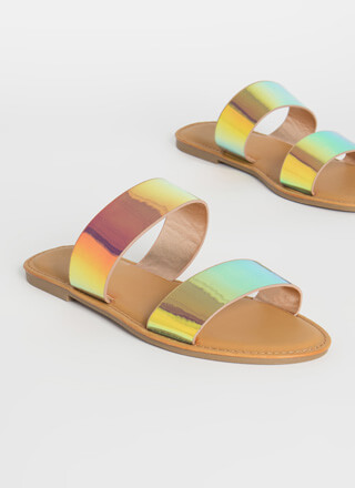 Sun Day Iridescent Slide Sandals