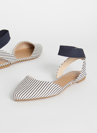 Stripe Obsession Pointy Banded Flats