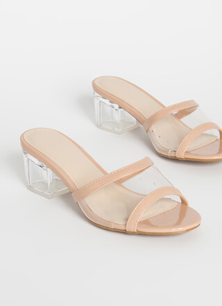 All Clear Faux Patent Lucite Mule Heels