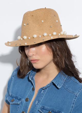 Pearls Of Wisdom Beaded Straw Hat