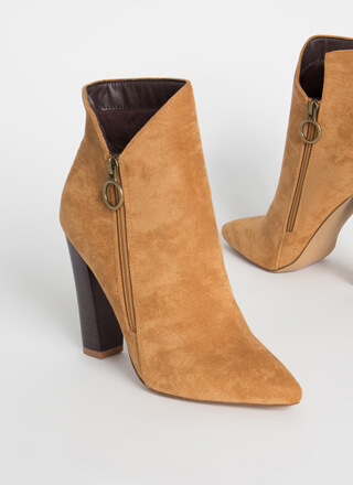 Zip It Cut-Out Faux Suede Booties