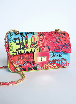 Graffiti Ombre Quilted Flap Purse