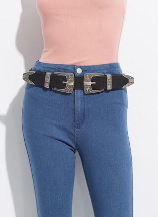 Head West Stretchy Double Buckle Belt