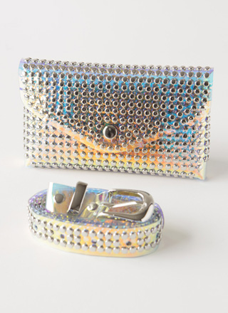 All Studs Iridescent Pouch And Belt Set