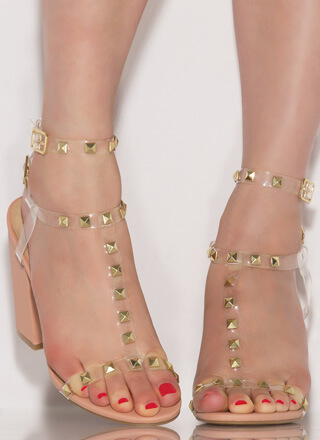 Clearly Edgy Studded Block Heels