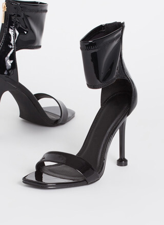 Pedestal Faux Patent Cut-Out Cuff Heels