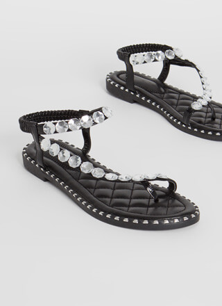 Curve Appeal Jeweled Studded Sandals