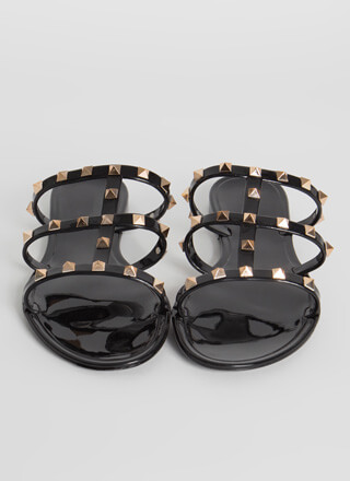 Studded Satisfaction Caged Jelly Sandals