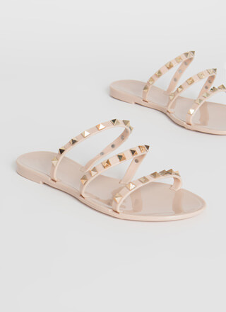 3-Strap Rule Studded Jelly Sandals