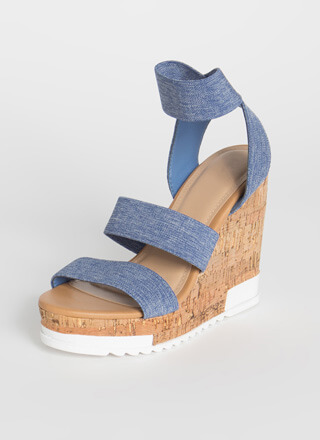 Denim Look Banded Platform Wedges