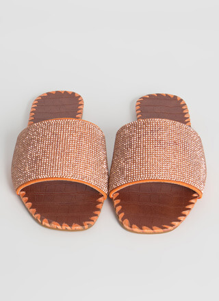 Rio Jeweled Raffia Trim Slide Sandals
