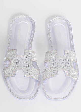 Love Triangles Jeweled Slide Sandals