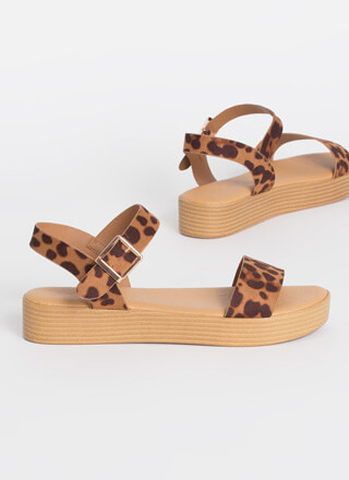 Leopard At The Beach Ankle Strap Sandals