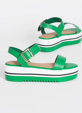 Stripe First Platform Wedge Sandals