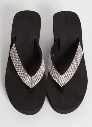 Sparkling Pool Wedge Thong Sandals