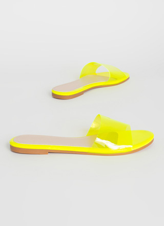 Feet First Clear Panel Slide Sandals