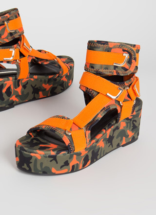 Band Mate Camo Platform Wedges