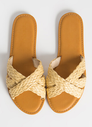 One With Nature Raffia Slide Sandals