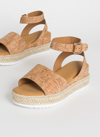 Vacationing Braided Cork Wedges