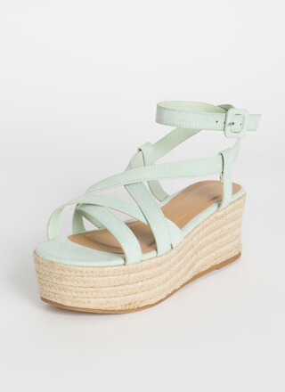 Coming Of Cage Braided Platform Sandals