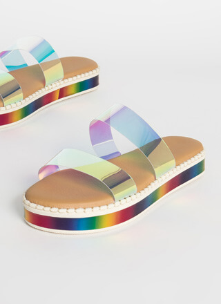 Beach Day Rainbow Platform Slide Sandals