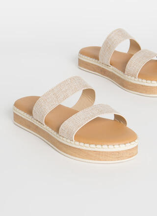 Beach Day Woven Platform Slide Sandals