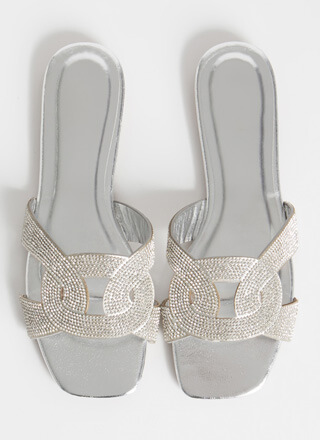 Loop Dreams Shiny Jeweled Slide Sandals