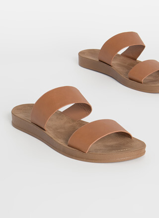 Plain And Simple Two-Strap Slide Sandals