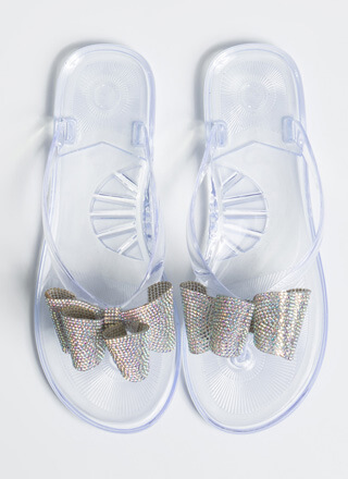 Big Bow Girl Jeweled Jelly Thong Sandals