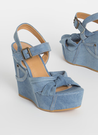 Jean Queen Denim Platform Wedges