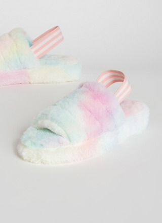 Cotton Candy Furry Slingback Sandals