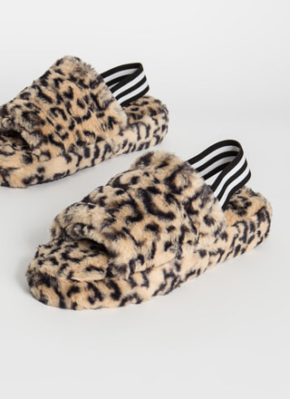 Pet Leopard Furry Slingback Sandals