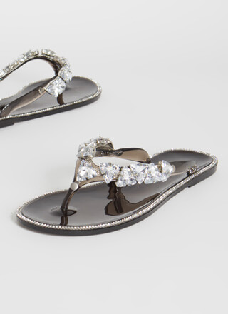 More Jewels Jelly Thong Sandals