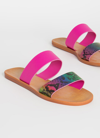 Animal Lover Rainbow Snake Slide Sandals