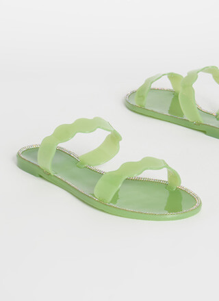 Get Wavy Jeweled Jelly Slide Sandals