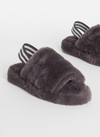 Cloudy Weather Furry Slingback Sandals