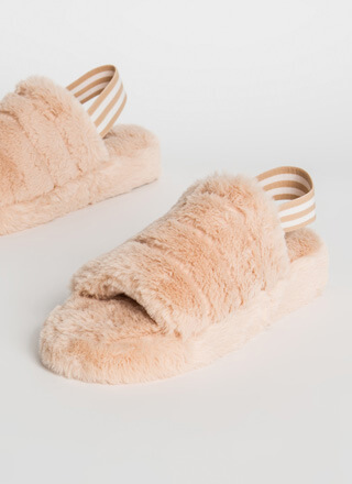 Soft Surrender Furry Slingback Sandals