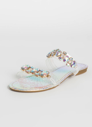 All Jewels Holographic Slide Sandals