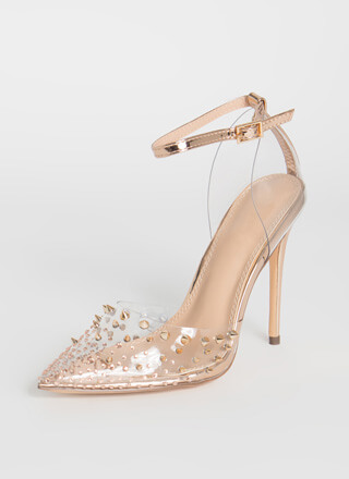 So Special Studded Jeweled Clear Heels