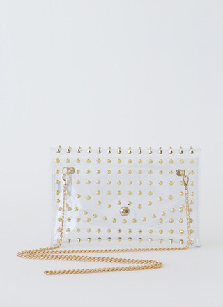 Clearly Edgy Spiky Studded Clutch