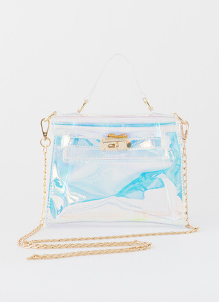 Unicorn Landing Holographic Clear Purse