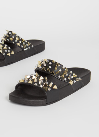 Stay Back Spiky Studded Slide Sandals