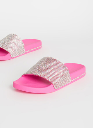Fast And Flashy Rhinestone Slide Sandals