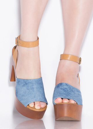 Retro Cool Chunky Denim Platform Heels