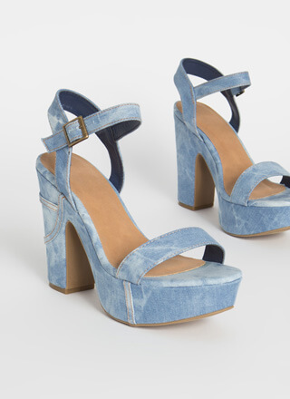 It's A Wash Chunky Denim Platform Heels