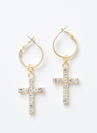 Cross Over Jeweled Hoop Earrings