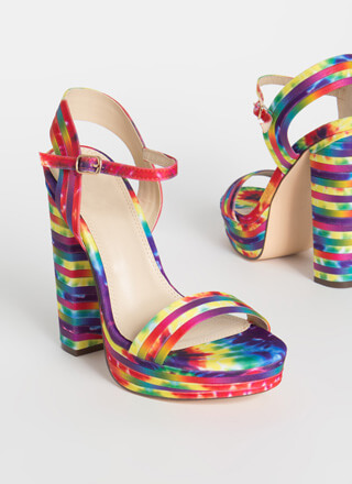Strip Tease Rainbow Chunky Platforms
