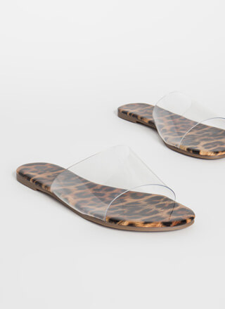 It's So Clear Leopard Slide Sandals