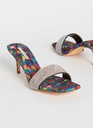 Short And Sparkly Rainbow Jeweled Heels
