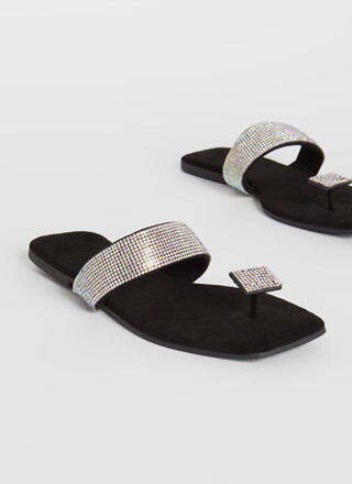 Square Off Jeweled Thong Sandals